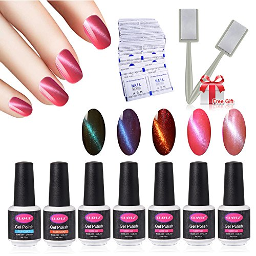 CLAVUZ Nice Bright Nail Polish Set C007,5pcs Gel Polish With Top And Base Coat With 50 Pcs Remover Wrap Soak Off UV LED Nail Art Kit 1pc Magic Magnet Stick Free Gift Set