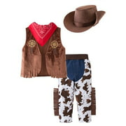 Bilo Kid Boys Halloween Cowboy Costume 4pcs Set Cosplay Event Dress Up Parties Stage Performance Outfits (110/4-5 Years)