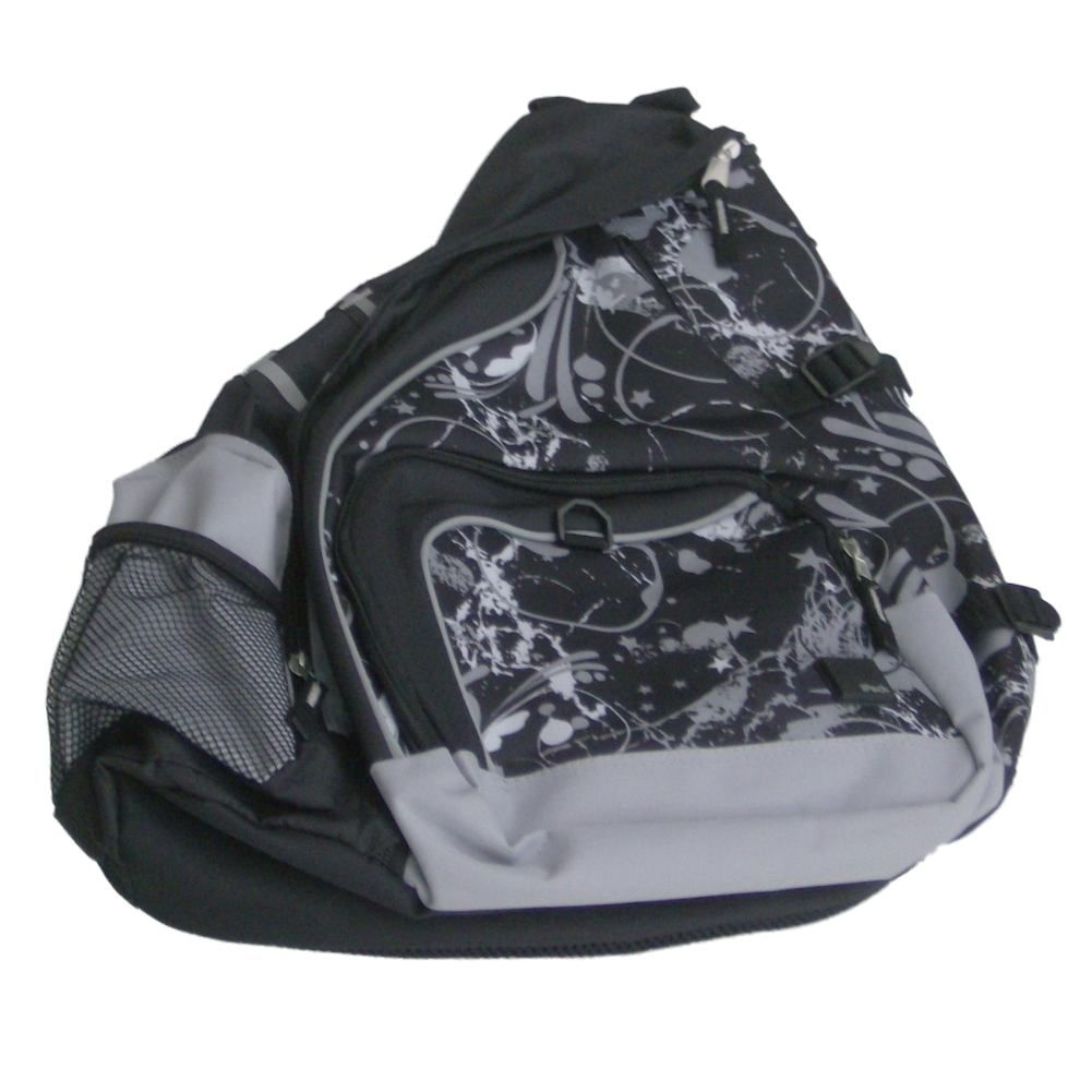 iPack Deluxe Sling Backpack Black & Gray Graffiti Sport School Travel Back Pack