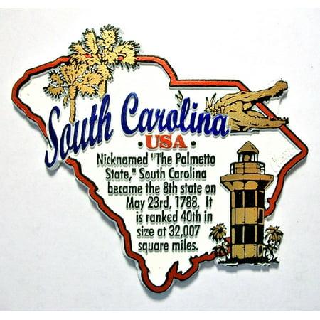 South Carolina The Palmetto State Outline Montage Fridge Magnet
