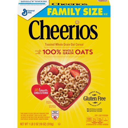 Cheerios, Gluten Free, Breakfast Cereal, 18 oz Box
