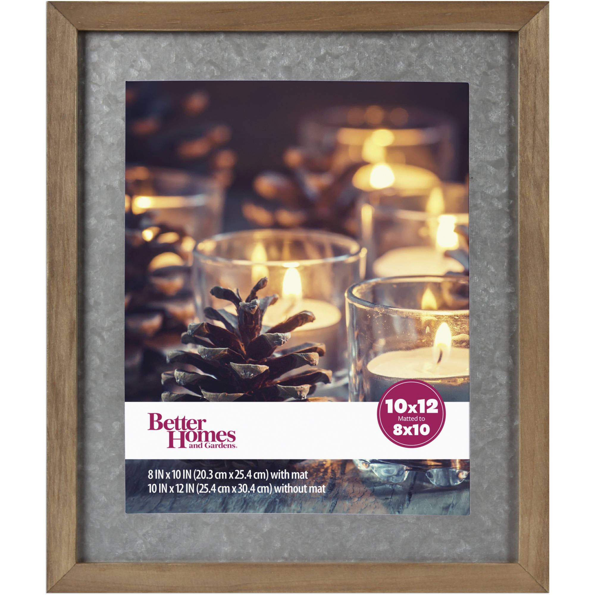 "Better Homes and Gardens Gallery Wood Picture Frame with Galvanized Metal Mat, 8"" x 10"" (20.32 cm x 25.4 cm)"