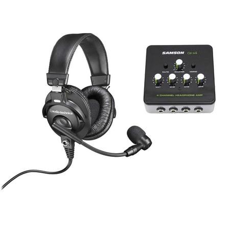 Audio Technica BPHS1 Over-Ear Broadcast Headphones Headset w/ Mic+Headphone Amp