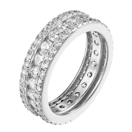 Women's Sterling Silver Ring Simulated Diamond Engagement Wedding Band Sizes 6,7 and 8