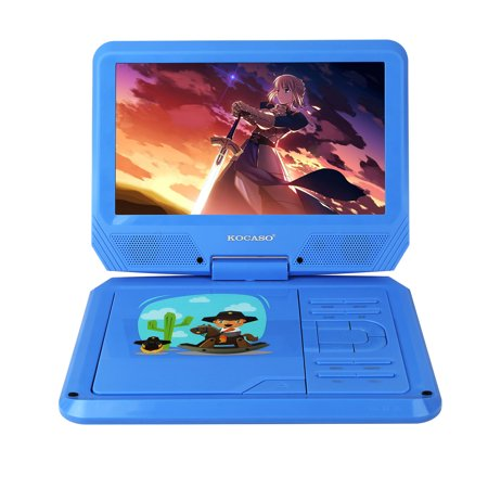 Kocaso 9 Inch Kids Portable Foldable Cd Dvd Player W  Matching Headphones  2 Free Game Controllers  Rechargeable Battery  Swivel Screen  Sd Card Slot  Usb Port  Av Jack Personal Dvd Player  Blue