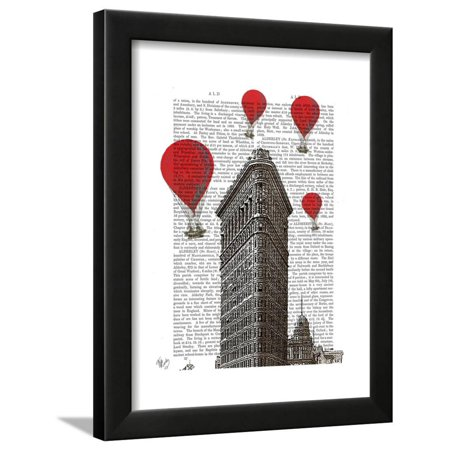 Flat Iron Building and Red Hot Air Balloons Framed Print Wall Art By ...