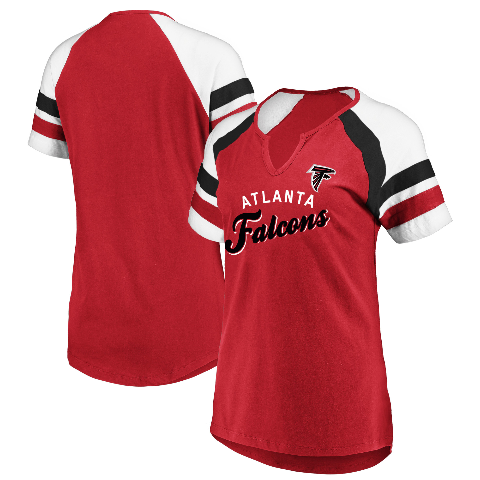 Women's Majestic Red/White Atlanta Falcons Defensive Victory V-Notch T-Shirt