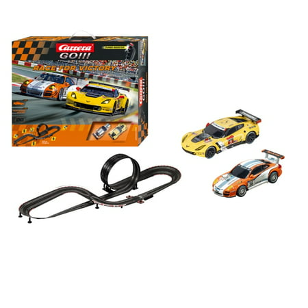 Carrera GO!!! Race for Victory Slot Car Set with Porsche GT3 No 63 and Chevrolet Corvette C7.R No 3 Cars ()