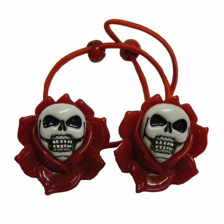 Skull in Rose Red Ponytail Holder Halloween Horror Accessory Kreepsville 666