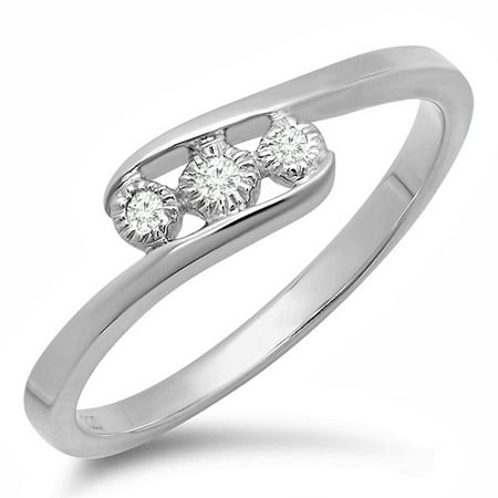 0.05 Carat (ctw) Sterling Silver Round Cut Diamond 3 Stone Bridal Engagement Bypass Promise Ring 1/20 CT