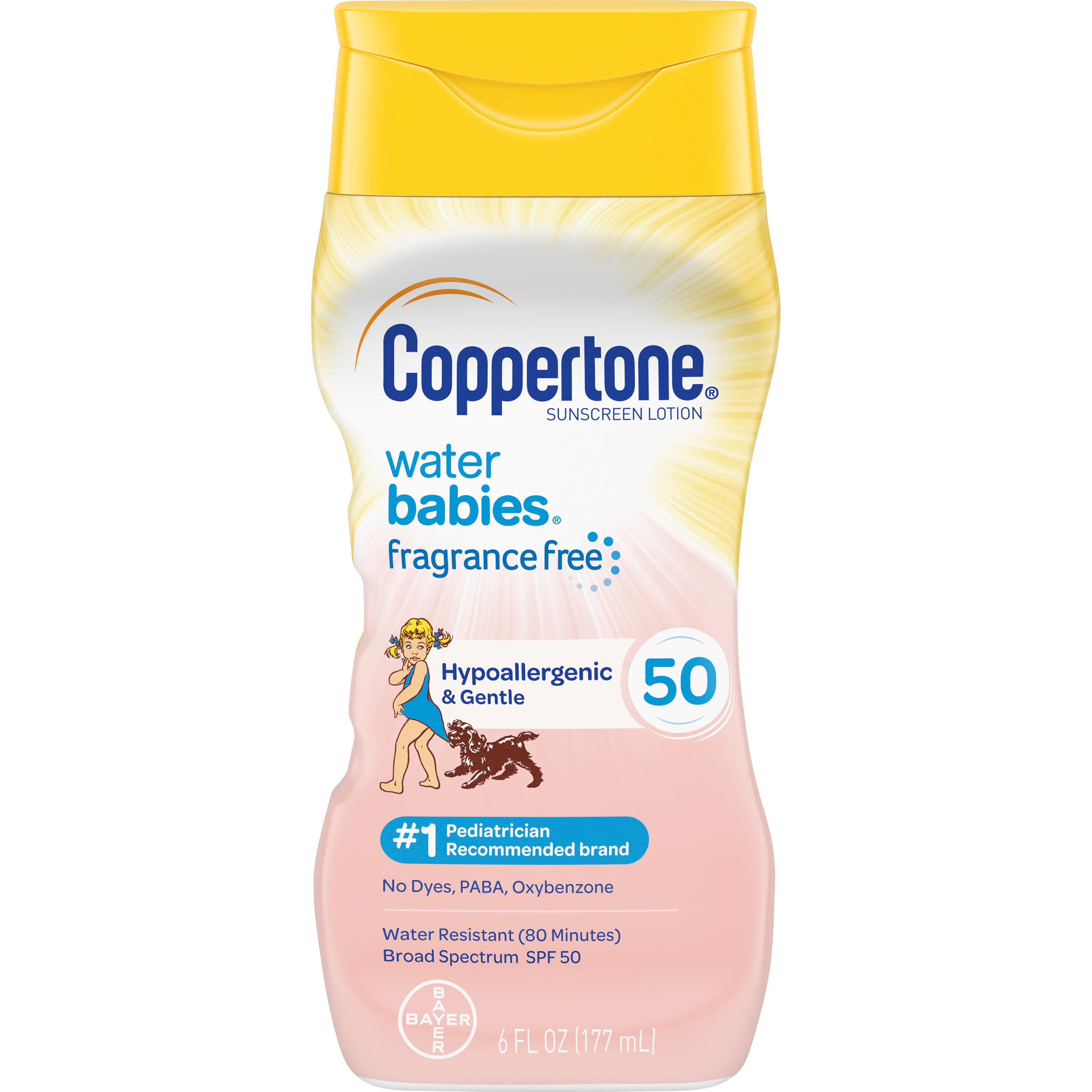 Coppertone WaterBABIES Sunscreen Fragrance Free Lotion SPF 50 6 oz