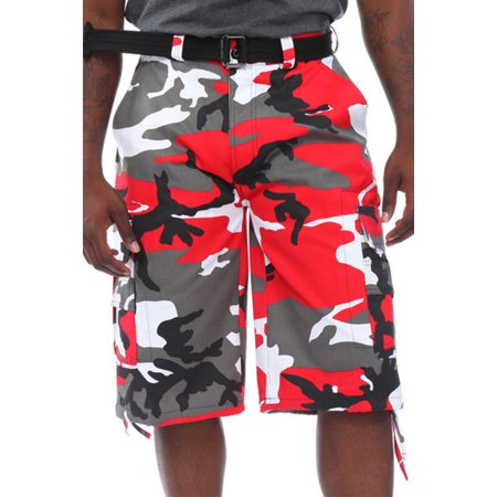 b1b46f3079 mens guys big n tall btl camouflage cotton twill belted camo cargo shorts  p212a-34-brown camo