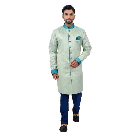 Pista Silk Traditional Indian Wedding Indo-Western Sherwani for Men. This product is custom made to order. - image 6 of 6