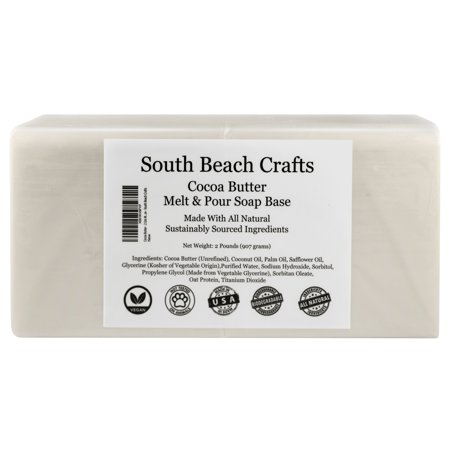 Cocoa Butter - 2 Lbs Melt and Pour Soap Base - South Beach (Best Packaging For Melt And Pour Soap)