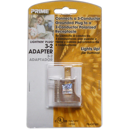 Prime Wire 3-to-2 Grounding Adapter with Prime light Indicator Light, Clear