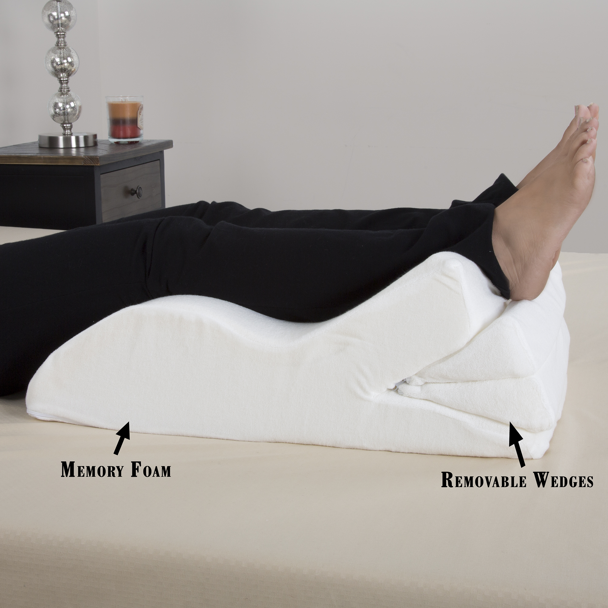 Bluestone Adjustable Leg Wedge Support Cushion with White Cover