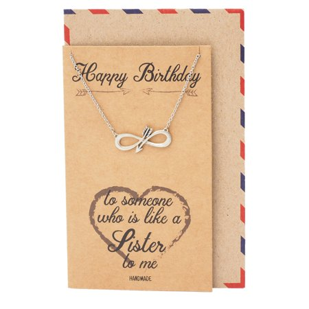 Quan Jewelry Birthday Infinity Arrow Pendant Necklace Friendship Gifts For Women Comes With Greeting Card