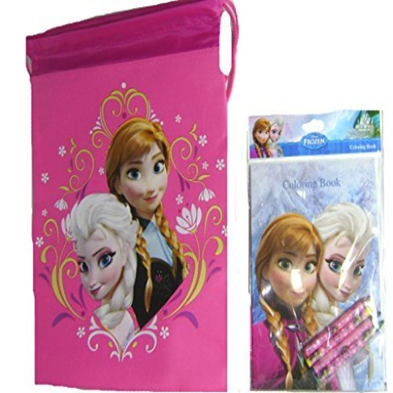 Disney Frozen Girls Coloring Book and Backpack Drawstring Bag