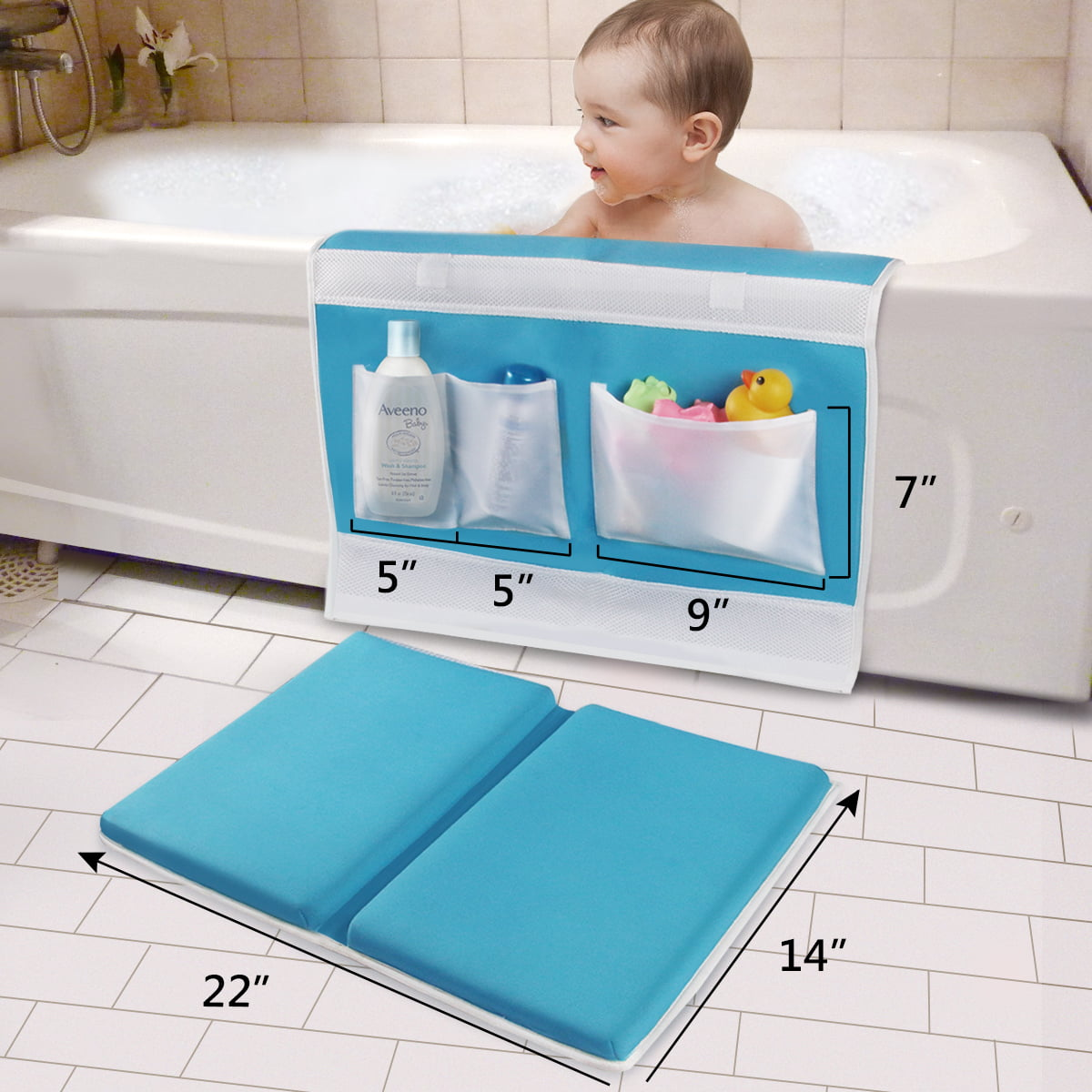 Gogokids Baby Bathtub Kneeler Pad Kids Kneeling Mat Thick Non-Slip with Arm Support and Pockets