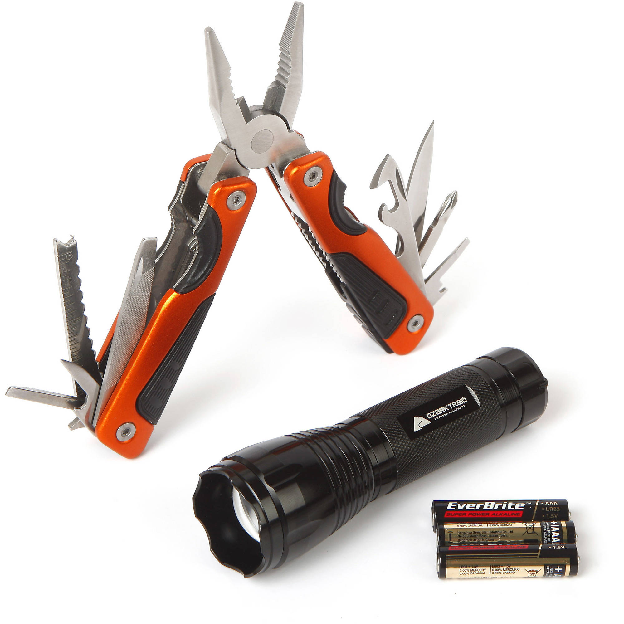 Ozark Trail 2-Piece LED Zoom Flashlight and Multi-Function Tool Combo, Black