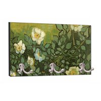 "Artist Vincent Van Gogh's Wild Roses Painting - 8"" by 16"" Mountable Coat Hanger Rack Household Decoration with Three Double Silver Hooks"