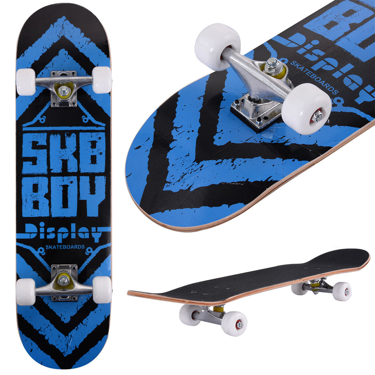 Costway 31'' x 8'' Professional Skateboard Longboard Complete Trucks Maple Deck Wood Child by Costway