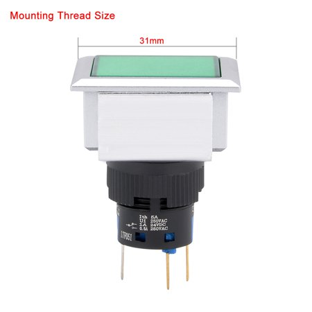 2pcs AC 250V 5A SPDT Momentary Pushbutton Switch Green Rectangle Head w Light - image 5 of 6