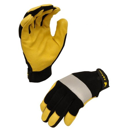 1091M Dark Owl High Visibility Reflective Performance Mechanics Work Gloves, Driving Gloves, Men's Medium, Hi Viz back with reflective tape.., By G & F Medium Turbine Drive Gear