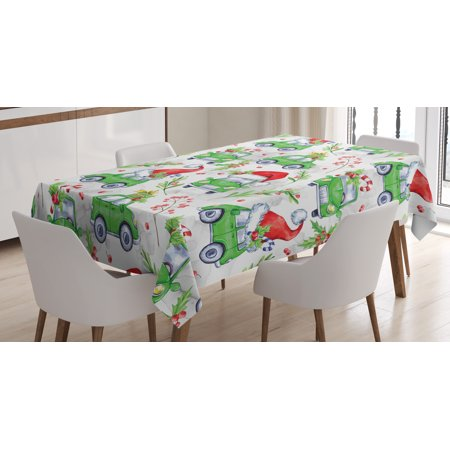 Cars Tablecloth, Noel New Year Celebrations Christmas Composition with Green Cars Santa Hats, Rectangular Table Cover for Dining Room Kitchen, 60 X 84 Inches, Lime Green Scarlet, by Ambesonne - Cat With Christmas Hat