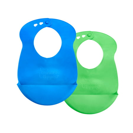 - Tommee Tippee Easi Roll Baby Bib, 7+ months - Blue and Green, 2 Count