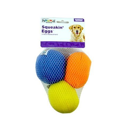 Outward Hound Kyjen 31016 Squeakin' Eggs Egg babies Replacement Dog Toys Squeak Toys 3-Pack, Large, Multicolor (2 Pack) ()