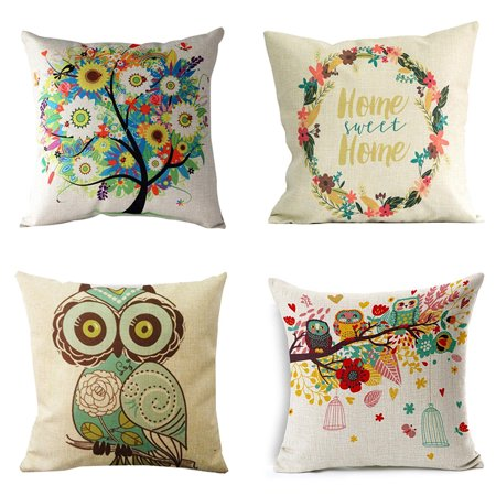 Throw Pillow Cushion Covers (Set of 4, 18x18 Inches) Cotton Decor  Embroidery Square Pillow Sham for Couch Bed Sofa Patio by Tayyakoushi