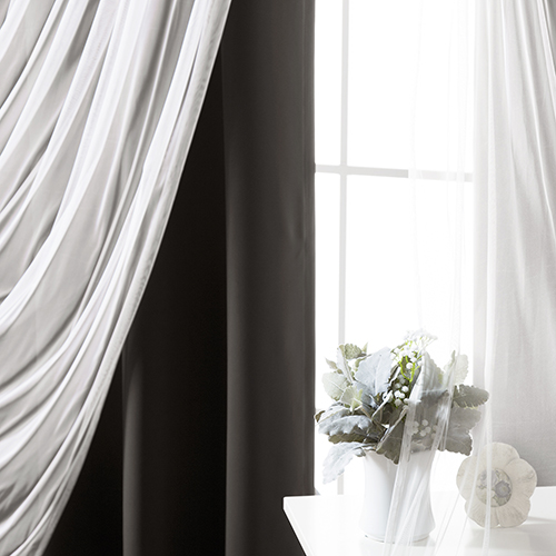 Black 80 x 84 In. Blackout Window Treatments, Set of Two by