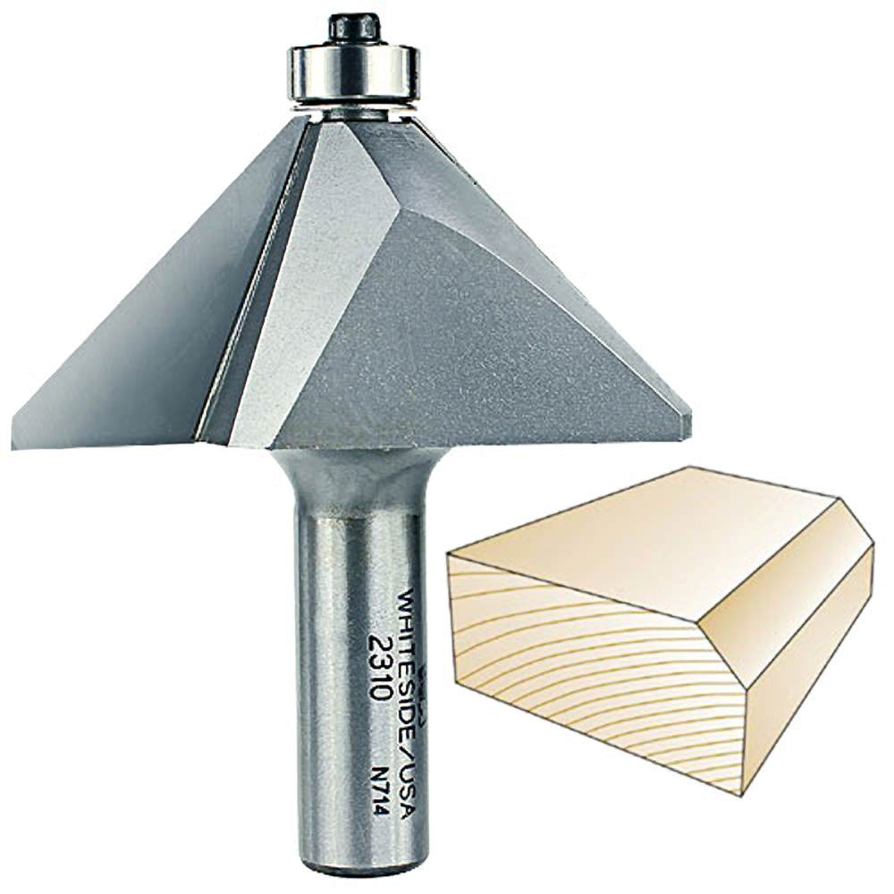 Whiteside Router Bits 2310 Chamfer Bit With 45-Degree 1-1/2-Inch Cutting Length