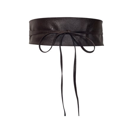 eVogues Plus size Faux Leather Obi Waistband Sash Belt Dark Brown ()