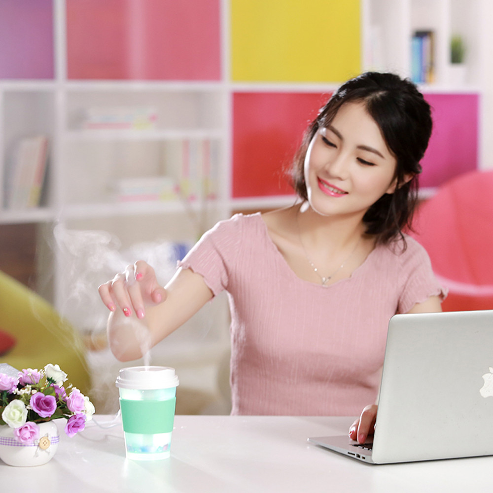 Mini Milk Cups Home Aroma LED Humidifier Air Diffuser Purifier Atomizer