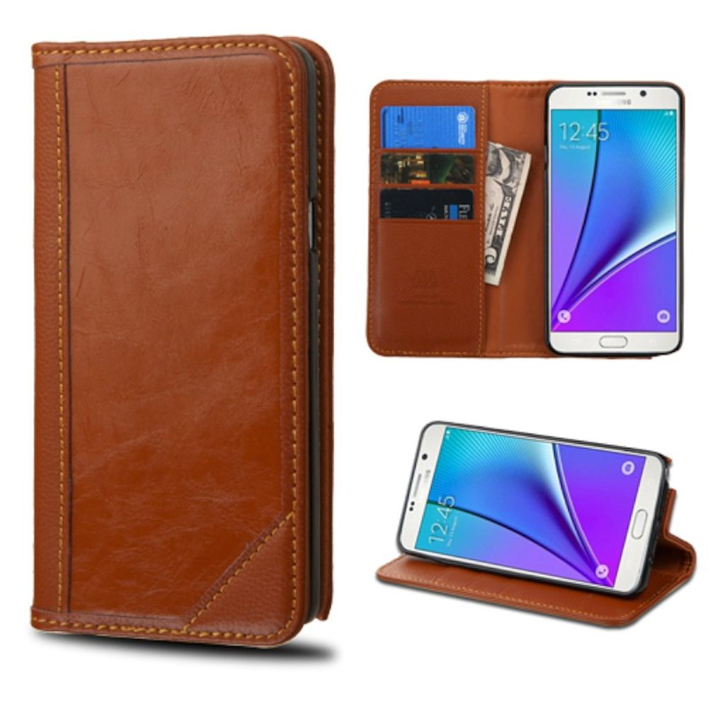 Insten Genuine Leather Wallet Fabric Cover Stand Case with Card slot For Samsung Galaxy Note 5 - Brown (Gift Idea)