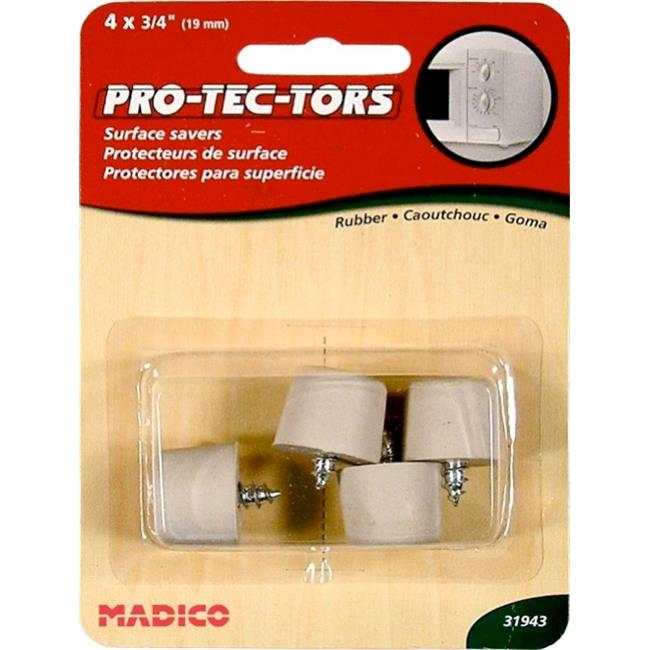 MADICO F31943 . 75 inch Round Rubber Screw Bumpers - Beige - 10 Packs