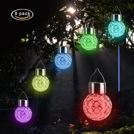 8 Pcs Colorful LED Solar Lights Hanging Ball Lights,Solar Powered Outdoor Lamp Hanging