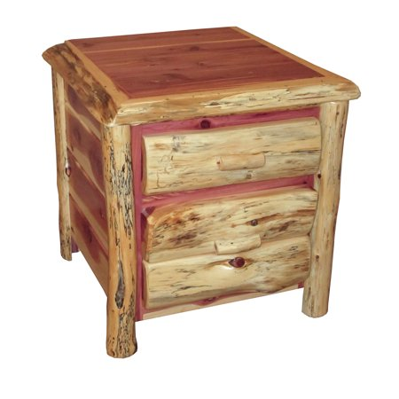 Furniture Barn USA™ Rustic Red Cedar Log 2 Drawer End Table / Night Stand