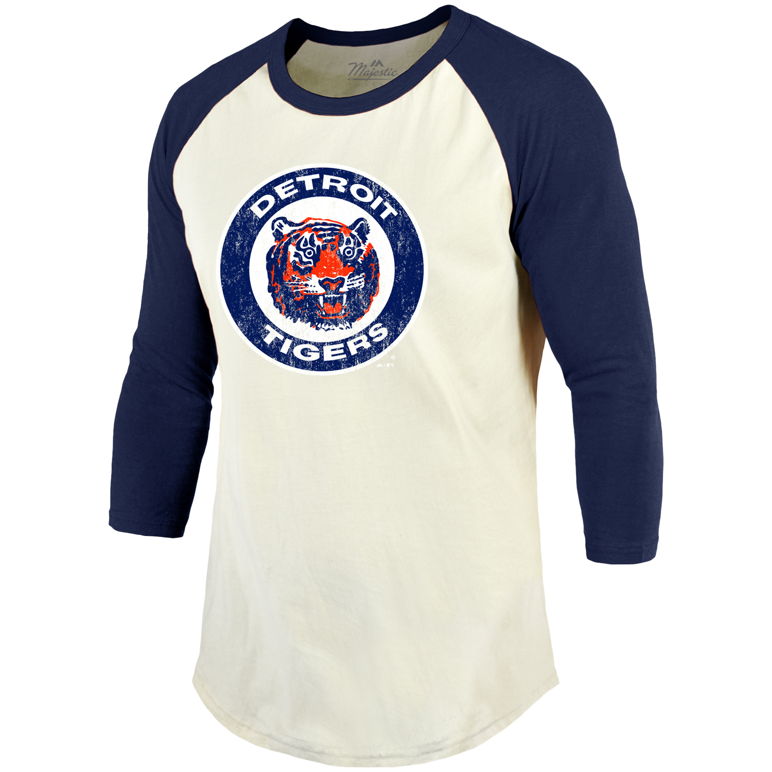 Detroit Tigers Majestic Home Stretch Cooperstown Raglan 3//4 Sleeve T-Shirt