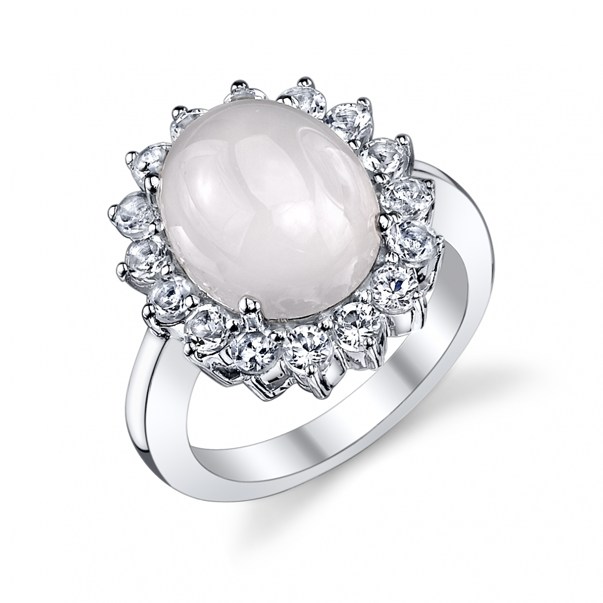 Sterling Silver Pink Chalcedony & White Topaz Ring by The Pearl Source