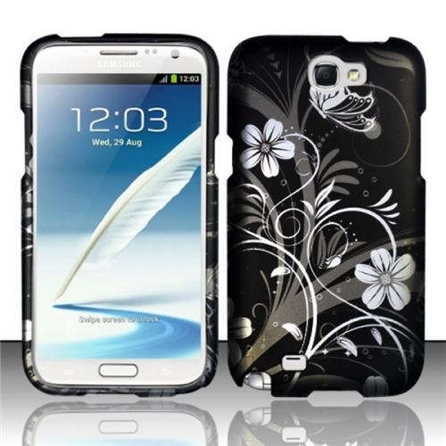 INSTEN White Flowers Rubberized Hard Design Case Cover For Samsung Galaxy Note 2 N7100