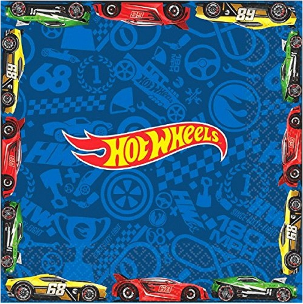 Napkins - Hot Wheels - Large - Paper - 2Ply - 16ct - 13 X 13 in