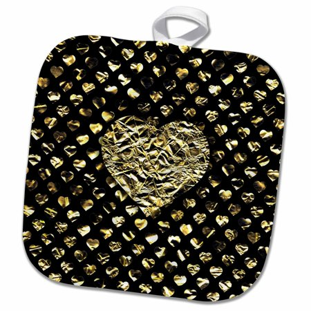 3dRose Photo of Large Gold Effect Heart over Heart Background- non metallic - Pot Holder, 8 by 8-inch