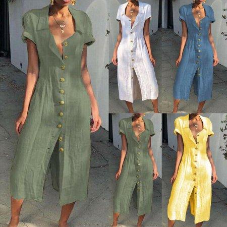 - The Noble Collection Womens Cotton Linen Long Maxi Dress Short Sleeve Casual Boho Kaftan Gypsy Ethnic