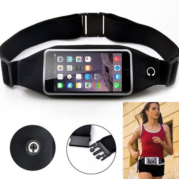 Black Sports Running Workout Waist Bag Belt Case Gym Cover Pouch with Touch Screen 14 for iPhone 6 6S 7