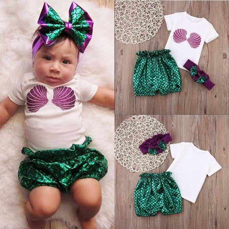 Infant Baby Girls Sea Mermaid Princess Swimwear Scallop Tops+Pants Headband Outfits