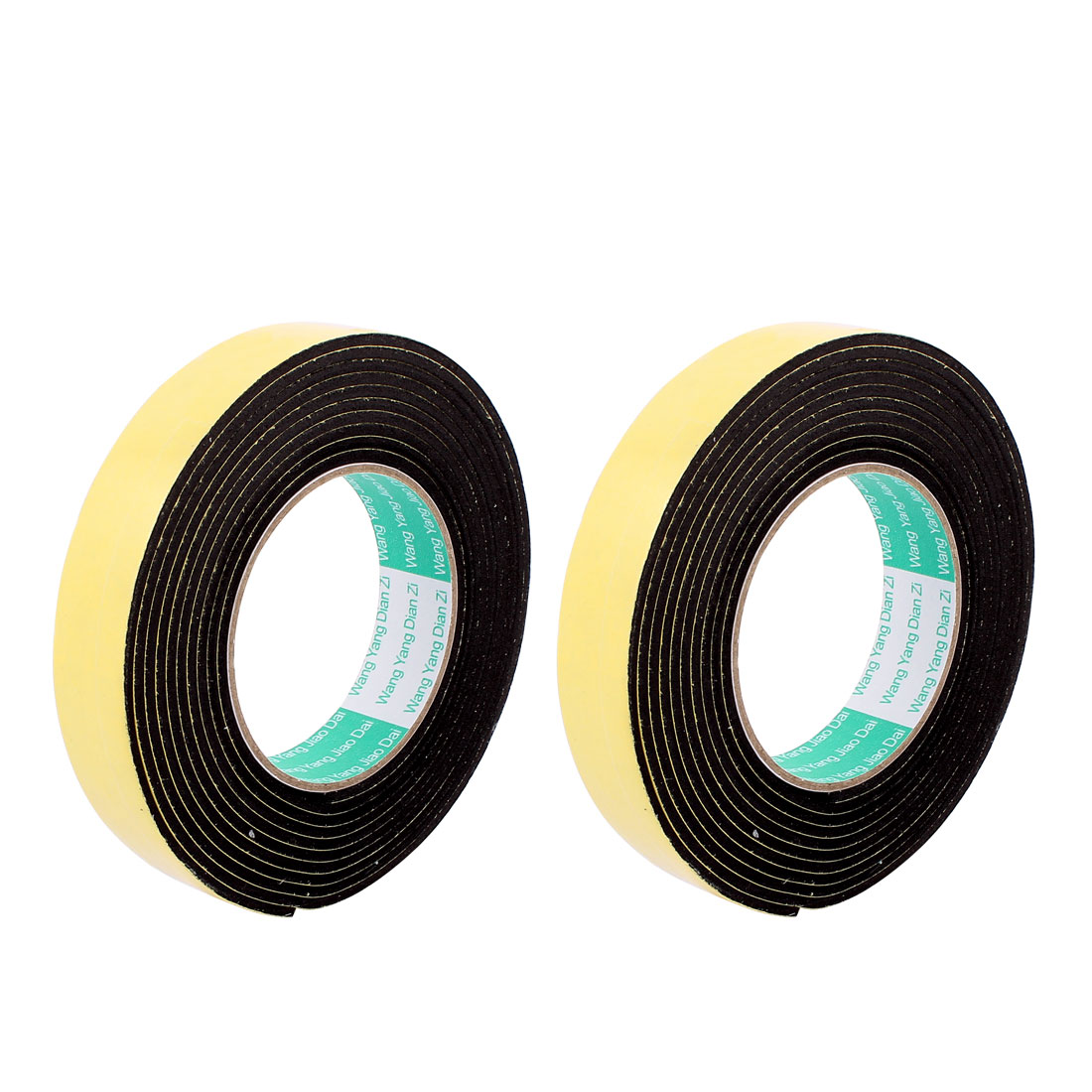 2pcs Black 2.5CM Wide 4M Length 3MM Thick Single Sided Shockproof Sponge Tape