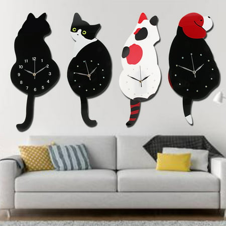 Animal Shaped Modern Home Decor DIY Wall Clock Swinging Tail Mirror Clock Bedroom Home Office Decor Gift For Kids